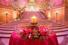 Grandeur and gorgeous! See more photos from this fairy tale wedding featured earlier this week here. Extravagant, Fairy Tale Wedding at San Francisco City Hall. Photo by: Lindsay Docherty. Wedding Entrance, City Hall Wedding, Dream Wedding, Wedding Receptions, Wedding Events, Weddings, Flower Places, Bride Pictures, Pink Table