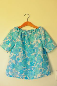 Vintage blue floral toddler girls tunic dress top in cotton fabric age 2 - 3 3 - 4. $20.00, via Etsy.