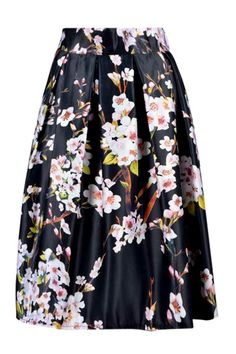 Black Sakura Skater Skirt With Pleat