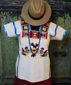 Hand Embroidered Roosters Huipil Huazolotitlan Oaxaca Mexico Hippie Boho Peasant #Handmade #HuipiltunicHuipil