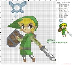 Link et Ciela (The legend of Zelda) grille point de croix