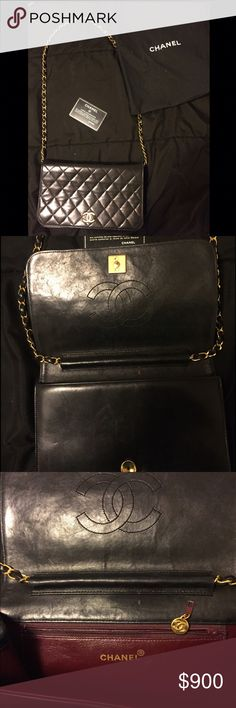 Authentic Vintage Chanel Bag for sale Selling this CHANEL Vintage Chain Shoulder Bag Handbag. **Please note zipper works however Chanel tag will need to be fixed.***See picture posted. Material	Lambskin Leather Size (inch)	W 9.06 × H 5.71 × D 1.97 inch Shoulder Strap( Drop): 16.54 inch Size (cm)	W 23 × H 14.5 × D 5 cm Shoulder Strap(Drop): 42 cm Made in	France Pocket	 Inside: 1 zipper pocket Serial Sticker	Yes included Guarantee Card	Yes included Original Dust Bag	Yes included CHANEL Bags…