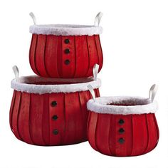 One of my favorite discoveries at ChristmasTreeShops.com: Santa Button Bushel Basket