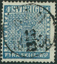 4 Skilling Banco -  Blå med tätt bottentryck (Facit-Nr 2a2) Tunt papper Färgstyrka 6-8 Leverans 1-2 och 4-6 Stämplade från 07.1855 Upplaga 1 300 000 (2a1 och 2a2)