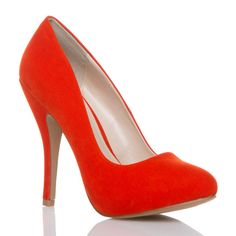 Orange high heel $39.95, also in lime green, fuchsia, turquoise, and black