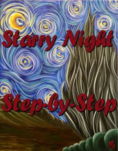 Starry Night - Step by Step Acrylic Painting on Canvas for Beginners. Please also visit www.JustForYouPropheticArt.com for colorful inspirational Prophetic Art and stories. Thank you so much! Blessings!