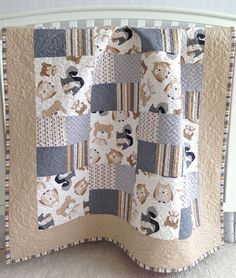 Baby Quilt featuring Wee Woodland Critters by KimsQuiltingStudio