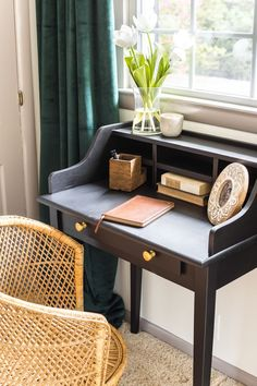 Vintage Writing Desk Makeover - Bless'er House Thrift find for a whopping $25 on Craigslist just in time for this month's Trash to Treasure Transformation Tuesday. #thrift #furnitureredo