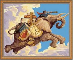 "Amazon.com: Paint By Number 16"" X 20"" Kit (Unframed-Unbox) Super Elephant Traveler"