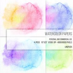 SALE! Watercolor Papers, Digital Papers, Background, Rainbow colors, Pastel, Clipart Texture Pack Wallpapers Backgrounds ClipArt Frame Card by LinePush on Etsy