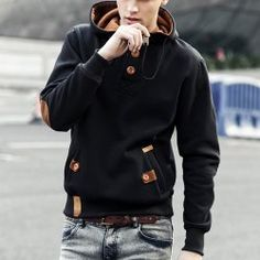 Drawstring Hooded PU-Leather Splicing Button Embellished Long Sleeve Hoodie For Men (BLACK,L) | Sammydress.com Mobile