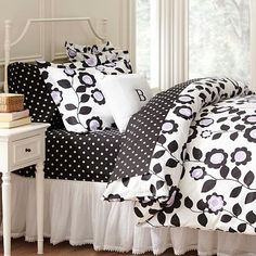 Nouveau Floral Organic Duvet Cover + Sham #potterybarnteen  Black & White for when we go from Nursery to Big Girl Room without having to change the color scheme!