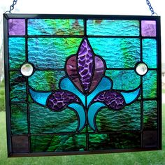 Bright blue, spring green and purple stained glass panel by Good Grief Glass, via Flickr