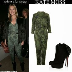 Kate Moss in khaki green camouflage floral print belted jumpsuit with black fur jacket and black ankle boots