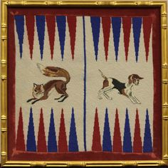 "Fabulous custom c1960s needlepoint featuring a sporting 'Fox & Hound' on a red & blue point backgammon board since framed under glass for tabletop play! Image Sz: 22""Sq"