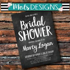 Any Color BRIDAL WEDDING BABY Couples Shower Chalkboard Simple Black and White Coral Mint Turquoise Gold Brunch Sprinkle Birthday Invitation