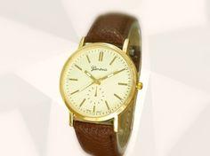 KREISWERK - schlichte Armbanduhr braun gold-farbig von Kleines Karma - Natur & Trend Schmuck, Ketten & Colliers, Uhren &  Accessoires aus Berlin auf DaWanda.com
