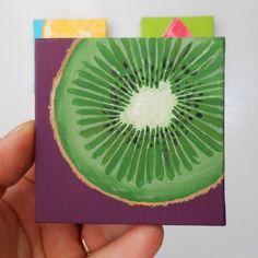 Kiwi Slice Miniature Painting Hand Painted Canvas Kitchen Art Kitchen Decor Still Life Art Gree Small Canvas Paintings, Small Canvas Art, Mini Canvas Art, Mini Paintings, Diy Canvas, Kitchen Canvas Art, Kitchen Art, Kitchen Decor, Fruit Painting