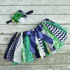 Baby Tutu & Headband 1st Birthday Outfit Navy Blue Tutu Toddler Tutu Green Tutu Baby Skirt Cake Smash Tutu Shabby Chic Nautical Baby Tutu by ThePickledPeanut on Etsy