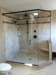 I love my walk-in shower! We removed a big garden tub from corner of bathroom to create this awesome shower!!