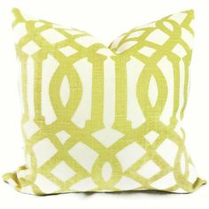 Kelly Wearstler Citron Imperial Trellis Decorative Pillow Covers 18x18, 20x20  or 22x22, Eurosham, Lumbar, throw pillow, Schumacher pillow