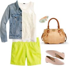 """""""Mom-Miami Day"""" by elizabeth-brewer on Polyvore Summer Fashion Outfits, Spring Outfits, Spring Fashion, Blue Jean Jacket, Looking For Women, Capsule Wardrobe, Miami, Fashion Looks, Cute Outfits"""