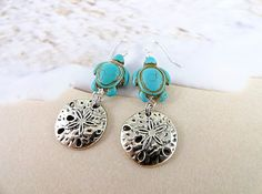 I love the gorgeous combination of silver and turquoise! These beautiful earrings were created with carved turquoise turtle beads and shining silver