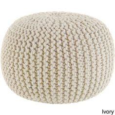 White Pouf Ottoman Cotton Rope 16Inch Offwhite Pouf Ottoman  Color Crush Grey