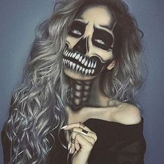BOO!  Happy Halloween! Amazing skeleton makeup!  By @lasulaboutique | #OMGHairMakeup