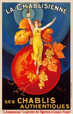 La Chablisienne by H. Le Monnier 1925 France- Vintage Poster Reproductions. This french wine and spirits poster features a red headed woman in yellow in front of orange grapes, leave and globe against blue circles. Giclee Advertising Print Classic Posters