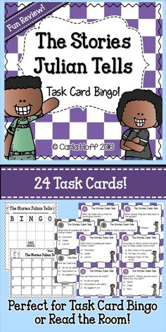 Here's a great way to wrap up your Stories Julian Tells unit or review the story!  Play Task Card Bingo (my students' favorite!) or Read the Room--either way, they are just the right mix of challenge and fun!  Includes 24 task cards (color and black & white sets included), student answer sheet, bingo board,  answer key, and complete directions!