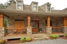 Stone Porch Columns Gorgeous Front Porch Wood And Stone Columns . Front Porch Railings, Front Porch Design, Front Porch With Columns, Wood Columns Porch, Porch Wood, Houses With Front Porches, House Columns, Covered Front Porches, Porch Designs