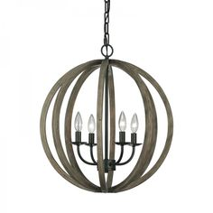 <p> This modern Elstead Feiss Allier four light pendant features a circular design ceiling plate with decorative chain in a antique forged iron finish holding a weather oak wooden sphere shaped frame complete with four candle lamp holders.</p> <p> PLEASE NOTE THIS LIGHT FITTING COMES WITH FREE DELIVERY.</p> <p> Height of fitting: 587mm</p> <p> Diameter: 521mm</p> <p> Overall drop: 470 - 2264mm</p> <p&...