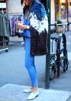 colorful fur coat