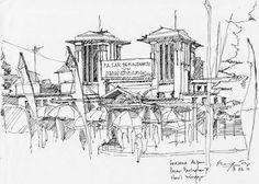 Pasar Beringharjo, sketsa karya Urip Tri Hasanah. Places Around The World, Around The Worlds, Pencil, Sketch, Drawings, Painting, Inspiration, Design, Art