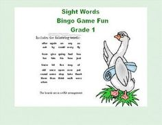Bingo Game Fun- Sight Words for Grade 1 This package contains the following: 34 Bingo Cards-4X4Grid 41 Calling cards -All of the Level 1 Words 10 blank decorated boards 25 blank calling cards It includes the following words: after againan any as ask by c