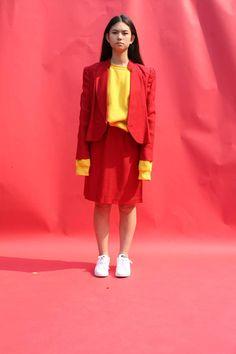 70s Red Skirt Set / Medium