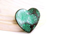 Heart Brooch Pin, Brooch, Mint Green and Black Brooch Pin, Fun Jewelry, For Her…