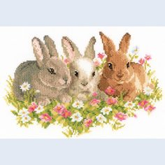 Rabbits in a Field of Flowers - counted cross-stitch kit Vervaco