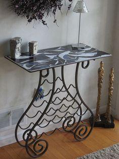 iron wine rack buffet table | Wine Rack Table » Handcut Mosaic Glass Art » Stephanie Lesner