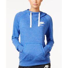Nike Sportswear Gym Vintage Just Do It Hoodie (€49) ❤ liked on Polyvore featuring tops, hoodies, game royal blue, nike hoodies, vintage hooded sweatshirt, hooded pullover, nike top and blue top