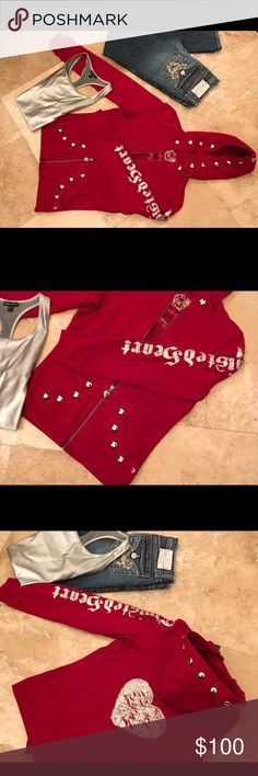 Twisted Heart Red Studded Hoodie Excellent condition.  Worn three times.  True red - no fade.  Nickel size studs on pockets and hood.  Large silver heart on the back.  Perfect for Valentine's Day!!  No trades.  Make me an offer and/or request a bundle.  (Both the jeans and the silver Bebe tank will be listed soon - let me know if you're interested in either.) TWISTED HEART Tops Sweatshirts & Hoodies