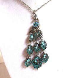 Aqua Peacock pendentif, topaze bleue, aigue marine cristal argent Peacock pendentif, pendentif paon