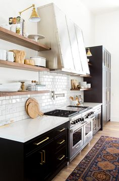 black and white kitchen - vintage rug | studio mcgee