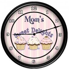 Personalized Cupcake Kitchen Decor Wall Clock Gift... I really want this for my kitchen,  I am always baking for my boys!