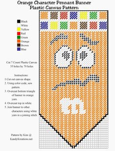 Make your own pennant banner with the orange M&M character using this Plastic canvas pattern freebie.  Simply right click and save this pattern to create your own party decoration or kitchen decor.