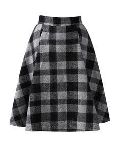 Plaid Md-long Woolen Skirt
