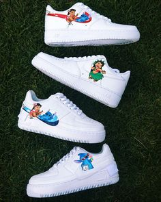 Lilo & Stitch matching custom Hand drawn and painted by Adindarays Cute Nike Shoes, Cute Nikes, Jordan Shoes Girls, Girls Shoes, Basket Style, Nike Shoes Air Force, Aesthetic Shoes, Disney Shoes, Hype Shoes
