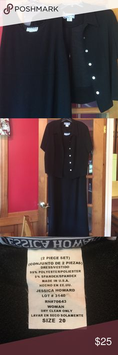 JUST IN- Sz 20 2-Piece Dress Set This maxi length dress is so versatile! The black sleeveless dress can be worn alone or with a blouse or jacket. Length: 53 inches; Bust: 24 inches. EUC  Jessica Howard Dresses Maxi