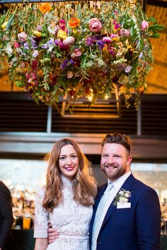 Image by Hermione McCosh Photography - Hermione De Paula Wedding Dress | London Pub Wedding at Beagle London | The Flower Appreciation Society | Bright Bridal Bouquet | Hermione McCosh